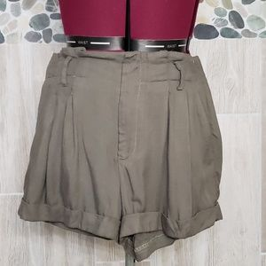 Sparkle and Fade PaperBag shorts in Khaki green
